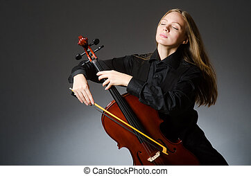 concept, classique, femme, musique, Violoncelle, jouer