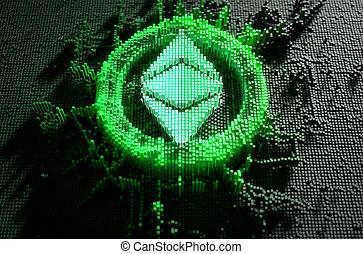 concept, classique, pixel, ethereum