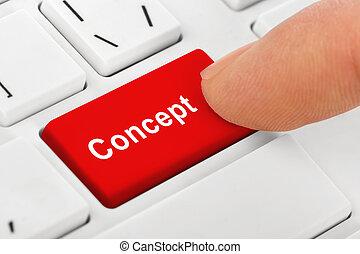 concept, clef informatique, cahier, clavier