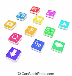 Concept, close-up view of colorful cube lying on the floor with application icons isolated on white background.
