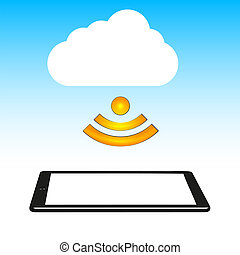 Concept cloud with computer tablet. Vector illustration.