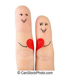 concept, coeur, famille, peint, -, doigts, isolé, femme, fond, blanc, prise, rouges, homme