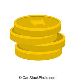 Concept coin icon, flat style
