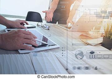 concept, collègues, concepteur, tablette, bois, données, ordinateur portable, matériel, deux, échantillon, informatique, numérique, intérieur, bureau, discuter