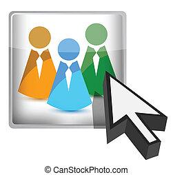 concept, collaboration, ligne