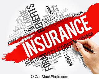concept, collage, mot, nuage, assurance, healthcare