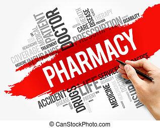 concept, collage, mot, pharmacie, nuage, santé