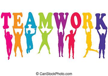 concept, coloré, hommes, silhouettes, sauter, collaboration, femmes