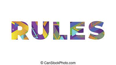 concept, coloré, illustration, retro, art, mot, règles
