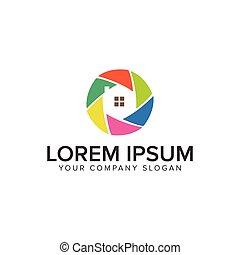 concept, coloré, maison, conception, logo, template.
