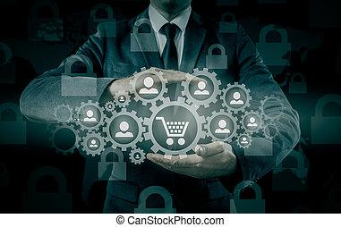 concept., commercer, sûreté protection, goods., consommateur, assurance