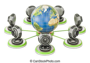 concept, communication, globe global, rendre, webcams., la terre, 3d