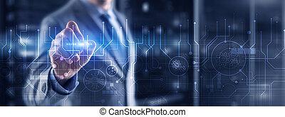concept., communication, planche, ingénierie, circuit, résumé, futuriste, technologie, arrière-plan., traitement