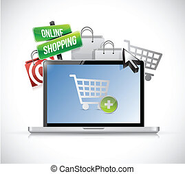 concept., compras, computador portatil, en línea