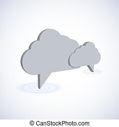 concept computer cloud with bubble speech. 3d vector illustration