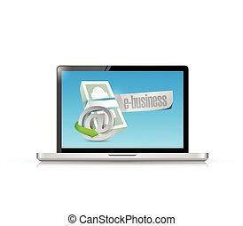concept, computer, handel illustratie, online