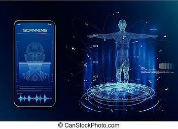 concept, concept., intelligence., système, artificiel, robot., identification, facial, ou, reconnaissance, biometric