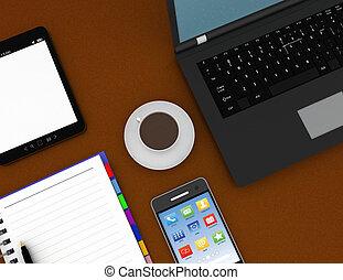 concept, concept., travail, illustration, rendu, lieu travail, 3d