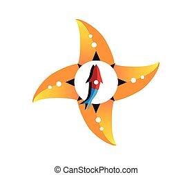 concept, conception, etoile mer, compas