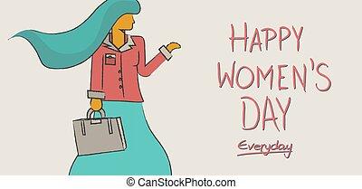 concept, conception, international, womens, jour, heureux