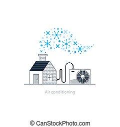 concept, conditionnement, air