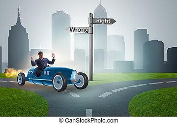 concept, conduite, voiture, mal, droit, homme affaires