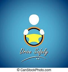concept, conduite, voiture, symbole, sûr, -, vecteur, chauffeur, ou, icône