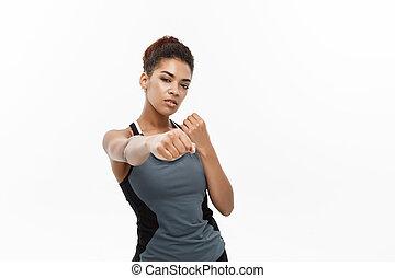 concept, confiant, sain, face., fitness, -, isolé, air, arrière-plan., femme américaine, africaine, frapper, portrait, blanc