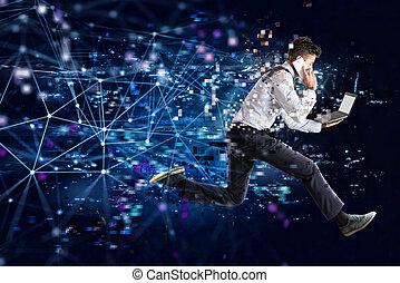 concept, connexion, jeûne, courant, internet, homme affaires