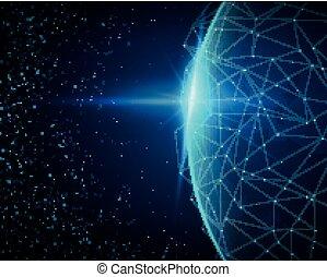 concept, connexion, réseau global, vecteur
