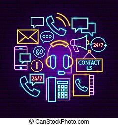 concept, contact, néon