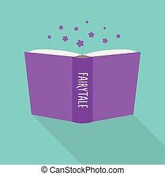concept, conte fées, littéraire, livre, genre, icon., fiction, ouvert