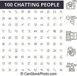concept, contour, bavarder, gens, ensemble, icônes, illustration, vecteur, ligne, signes