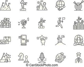 concept, contour, business, ensemble, icônes, occasions, vecteur, illustration, ligne, signes