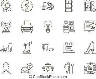 concept, contour, ensemble, icônes, illustration, équipement, vecteur, ligne électrique, signes