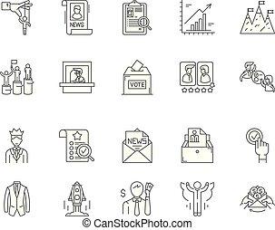 concept, contour, ensemble, icônes, illustration, vecteur, élection, ligne, signes