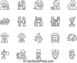 concept, contour, ensemble, icônes, illustration, vecteur, ...