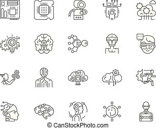 concept, contour, ensemble, icônes technologie, illustration, vecteur, ligne, signes, avancé