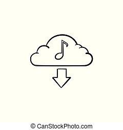 concept, contour, griffonnage, main, musique, dessiné, icon., nuage