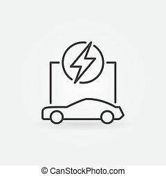 concept, contour, voiture, vecteur, électrique, icône