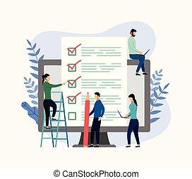 concept, controlelijst, zakelijk, vragenlijst, illustratie, rapport, vector, onderzoeken; inspecteren;, online