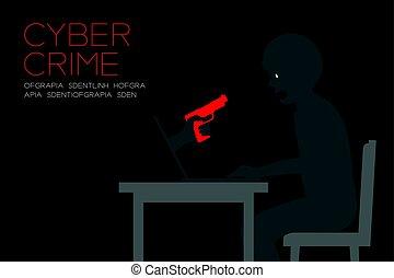 concept, copie, tenue, espace, couleur, ordinateur portable, idée, cyber, isolé, fond foncé, noir, illustration, victime, internet, main, editions, crime, homme, fusil, rouges