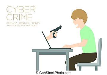 concept, copie, tenue, espace, couleur, ordinateur portable, idée, cyber, isolé, fond, illustration, victime, internet, main, blanc, crime, homme, fusil