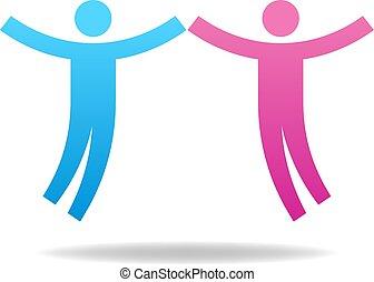 concept., coppia, illustrazione, vettore, lavoro squadra, female., icon., maschio, tuo, design.