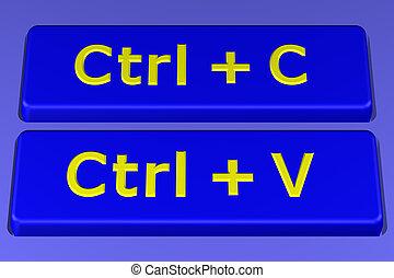 Concept: Copy paste buttons. 3D rendering. - Concept: Copy...