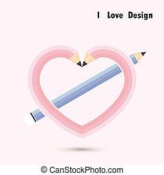 concept., coração, lápis, amor, desenho, forma