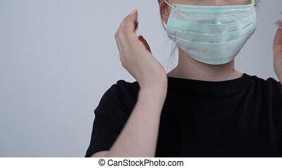 concept., coronavirus, regarder, mask., jeune, medical., tondu, protecteur, appareil photo, blanc, arrière-plan., porter, femme, santé, femme, européen, soin, masque, pandémie, portrait