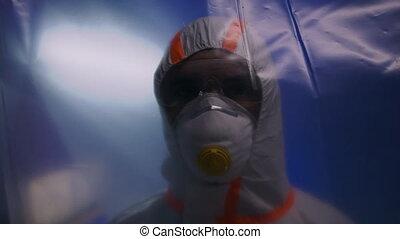 concept., coronavirus, schützend, klinikum, maske, doktor, ...