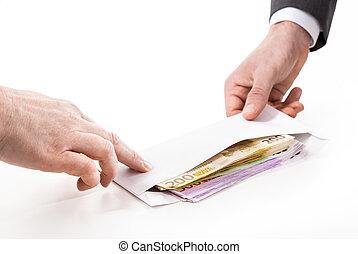 Businessman in a suit takes a bribe - Concept - corruption....