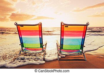 concept, coucher soleil, vacances, hawaien